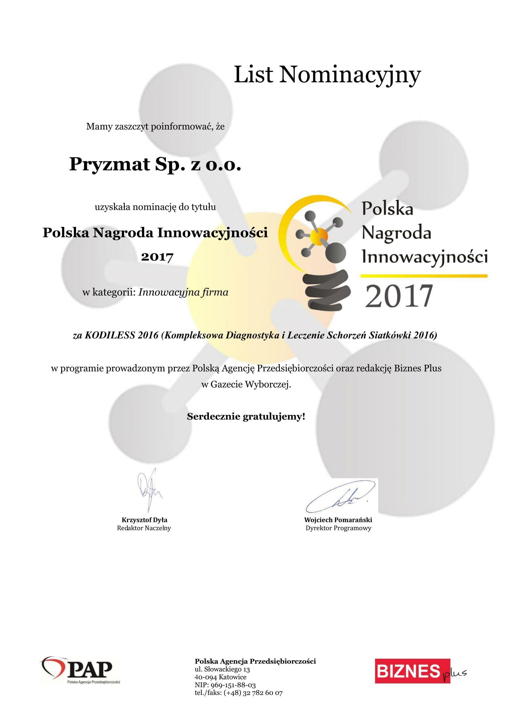 List Nominacyjny PNI 2017 Pryzmat 1 1 - Nominacja do tytułu: Polska Nagroda Innowacyjności 2017