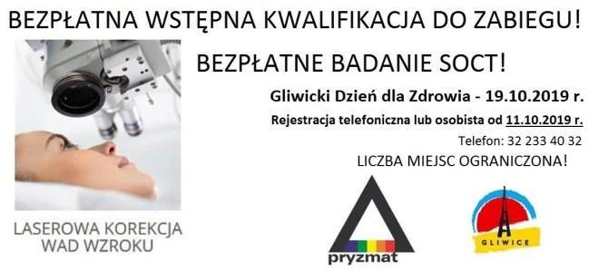 PRY2 - PRYZMAT OKULISTYKA GLIWICE partnerem Gliwickiego Dnia dla Zdrowia.